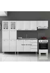 Cozinha De Aço Compacta Em L 11 Portas 2 De Vidro Itanew Branco - Itatiaia