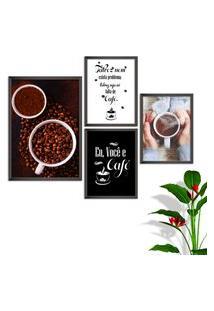 Kit Conjunto 4 Quadro Oppen House S Frases Eu Você E Café Lojas Cafeteria Xícaras Gráos Moldura Preta Decorativo Interiores Sem Vidro