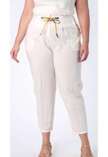Calça Almaria Plus Size Munny Lisa Mônaco Branco