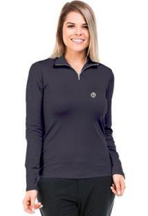 Camisa Térmica Para Frio Com Gola Alta Extreme Uv - Feminino-Chumbo