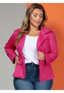 Blazer Em Sarja Pink Plus Size