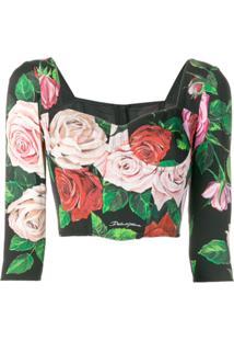 Dolce & Gabbana Blusa Cropped Com Estampa Floral - Preto