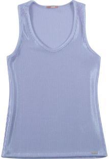 Blusa Sem Manga Em Tecido Canelado Azul
