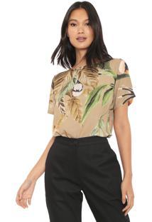 Camiseta Forum Tropical Bege/Verde