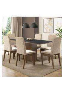 Conjunto Sala De Jantar Madesa Cecília Mesa Tampo De Madeira Com 6 Cadeiras Rustic/Preto/Fendi