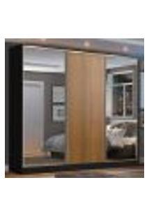 Guarda Roupa Casal 100% Mdf Madesa Zurique 3 Portas De Correr Com Espelhos - Preto/Rustic