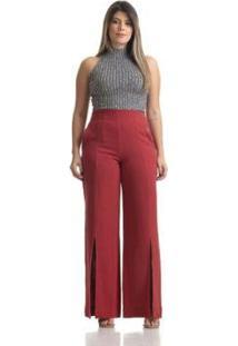 Calça Maria Arruda Linho Fenda Frontal Pantalona Feminina - Feminino