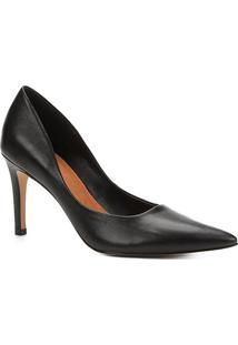 Scarpin Couro Shoestock Salto Alto - Feminino-Preto