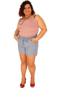 Shorts True E-Motion Clochard Janie Jeans Lavagem Clara Azul