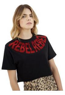 Camiseta Rosa Chá Rebel Malha Preto Feminina Camiseta Rebel-Preto-P