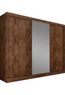 Guarda-Roupa Casal Com Espelho 3 Portas Diamond- Novo Horizonte - Canela
