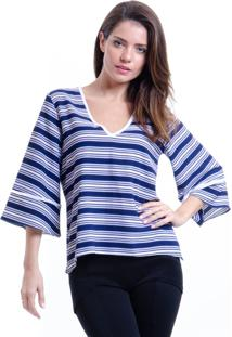 Blusa 101 Resort Wear Decote V Boho Cropped Crepe Listras Azul