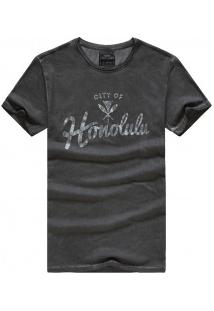 Camiseta Masculina Com Estampa Frontal Manga Curta - Cinza Escuro