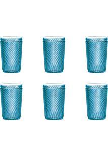 Conjunto De Copos De Vidro Com 6 Unidades Lux Azul 355 Ml