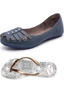 Kit Sapatilha E Chinelo Top Franca Shoes - Feminino-Marinho