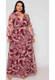 Vestido Almaria Plus Size Pianeta Festa Estampado Vinho