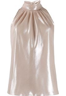 Dvf Diane Von Furstenberg Blusa Frente Única Com Franzido - Dourado