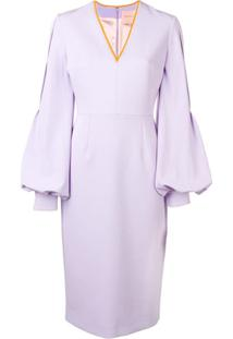 Roksanda V-Neck Midi Dress - Roxo