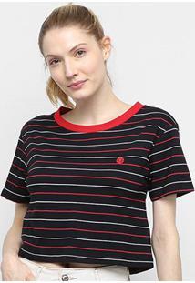 Camiseta Cropped Element Broken Feminina - Feminino-Preto