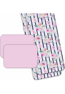 Jogo Americano Love Decor Wevans Com Caminho De Mesa Floral Rosa - Multicolorido - Dafiti