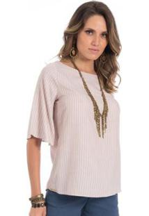 Blusa Listrada Floriá Feminina - Feminino-Bege+Branco
