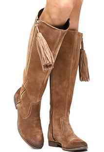 Bota Couro Over The Knee Shoestock Barbicacho Feminino - Feminino-Bege