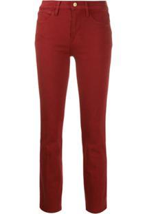 Frame Calça Jeans Slim Cropped - Vermelho