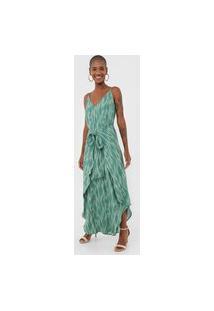 Vestido Maria Filó Longo Ikat Agave Verde