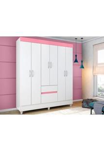 Guarda-Roupa De Casal 6 Portas Soft Branco/Rosa - Lc Móveis
