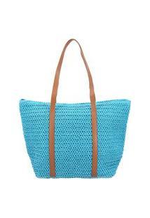 Bolsa Feminina Textura De Palha - Moda Praia Bolsa Feminina Textura De Palha - Moda Praia Azul Claro