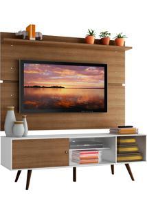 Rack Madesa Cairo E Painel Para Tv Atã© 65 Polegadas Com Pã©S De Madeira - Branco/Rustic/Rustic Branco - Branco - Dafiti