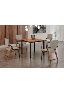 Conjunto De Mesa De Cozinha Com 4 Cadeiras Miami Linho Preto 90 Cm