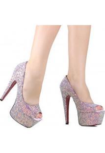 Sapato Zariff Peep Toe Glitter