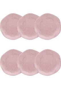 Jogo Pratos De Sobremesa Oxford Ryo Pink Sand 6 Peças Rosa