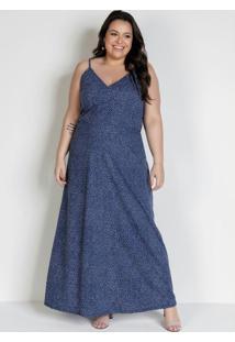 Vestido Longo Poá Azul Com Alças Plus Size