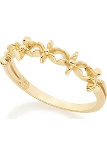 Anel Rommanel Skinny Ring Com Flores Estilizadas - Feminino-Dourado