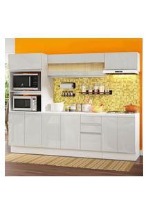 Cozinha Completa 100% Mdf Madesa Smart 250 Cm Modulada Com Balcão E Tampo Frentes Branco Brilho Branco