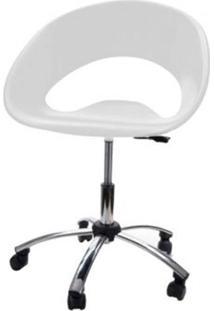 Cadeira One Giratoria Cromada C/Braco Cor Branco - 22656 - Sun House