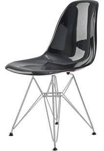 Cadeira Eames Eiffel Policarbonato Preto Solido Base Cromada - 44196 - Sun House
