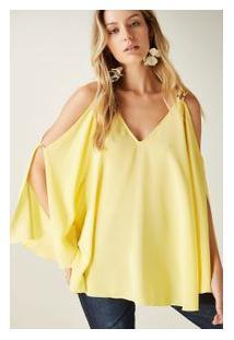 Blusa Seda Regata Fenda Det Argolinhas Amarelo Summer