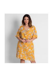 Vestido Floral Plus Size Secret Amarelo