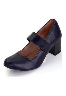 Sapato Scarpin Boneca Salto Médio Grosso Azul Marinho