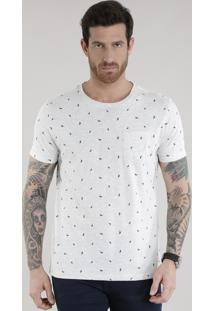 Camiseta Estampada De Folhagens Off White