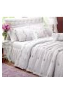 Cobre Leito Queen Branco Bordado Com Almofada E Rolo Decorativa 8 Peças 100% Algodão