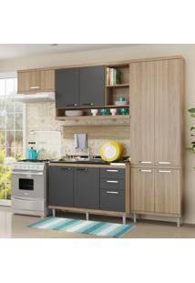 Cozinha Compacta 9 Portas 3 Gavetas Sicilia 5838 Premium Argila/Grafite - Multimóveis