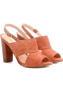 Sandália Couro Shoestock Salto Grosso Camurça Feminina - Feminino-Caramelo