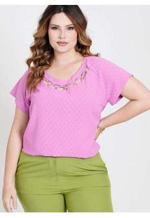 Blusa Maquinetada Almaria Plus Size New Umbi Decot