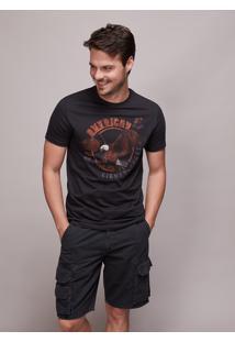 Camiseta Masculina Águia Manga Curta Gola Careca Coral