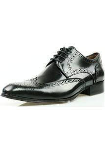 Sapato Social Oxford Classico Couro Masculino - Masculino-Preto