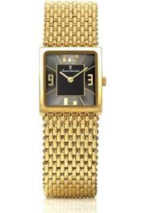 Relógio Jean Vernier Pulseira Em Aço Feminino - Feminino-Dourado+Preto